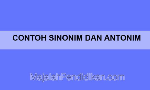 Contoh Sinonim Dan Antonim